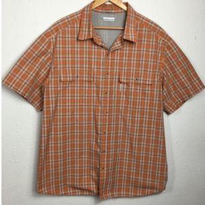 Columbia Omni Shade Orange Gray Plaid Vented Shirt